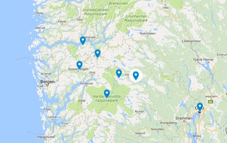 Route noorwegen