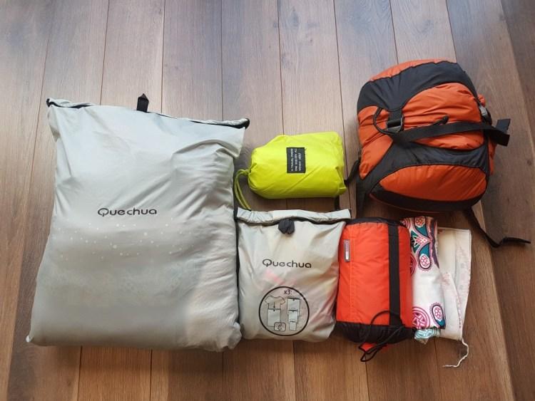 ultralight backpacking paklijst packing cubes