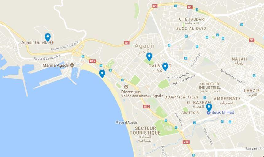 Agadir kaart bezienswaardigheden