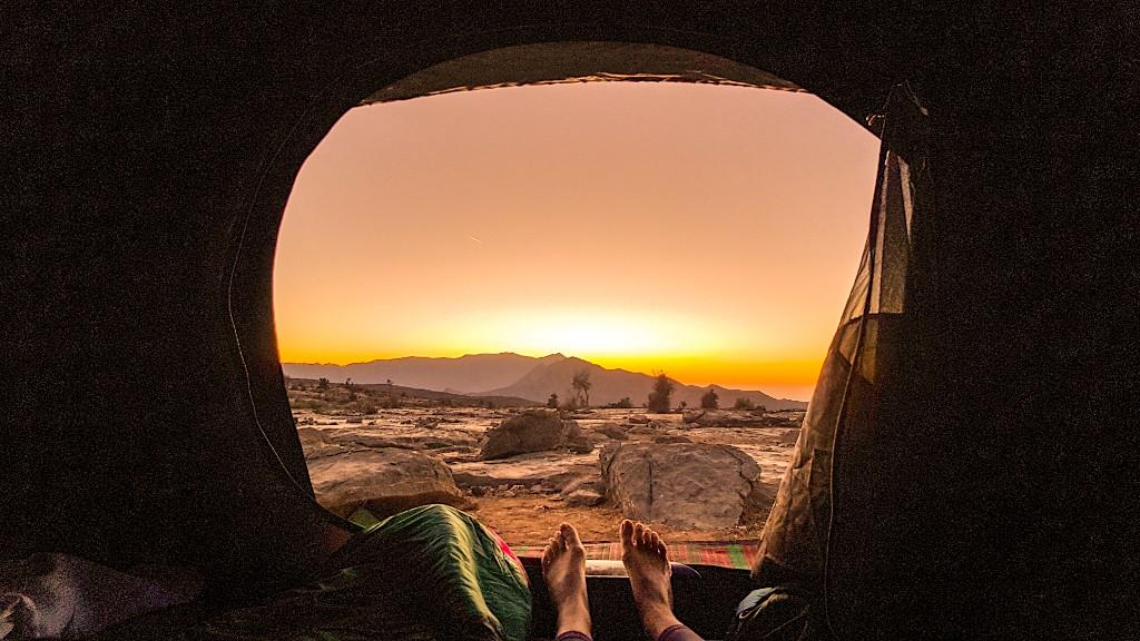 Zonsondergang wildkamperen Jebel Shams Oman
