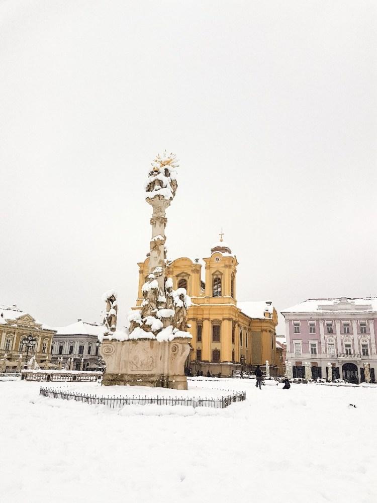 Timisoara winter sneeuw plein Roemenië