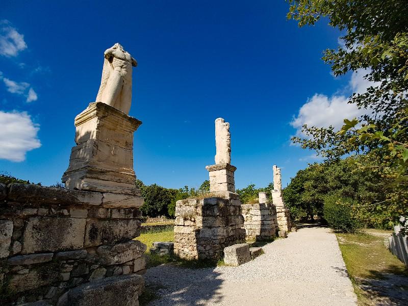 Oude Agora standbeelden Athene Griekenland