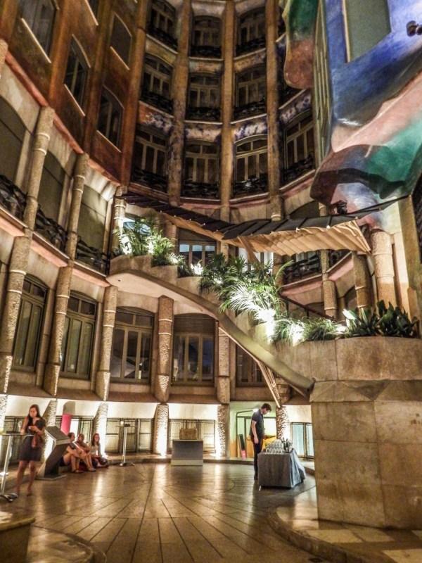 lobby casa mila la pedrera origins cava barcelona gaudi