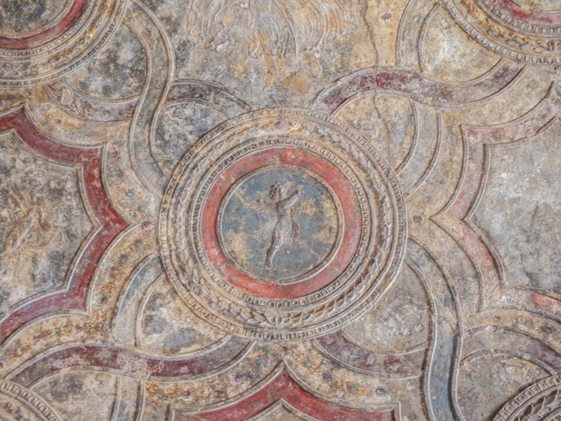 Ruins of pompeii and preserved ceiling in southern italy