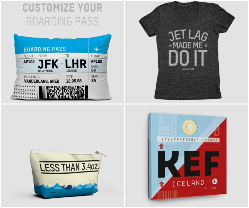 Travel related and customizable goodies from Airportag