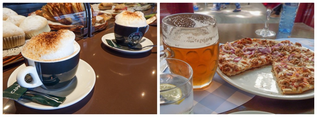 Cappuccino, beer, and pizza in the gothic quarter of Barcelona, Spain