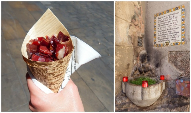 Cone of Jamón in Barcelona, Spain
