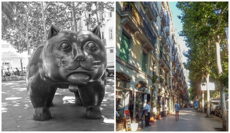 The cat statue and neighborhood of Raval in Barcelona, Spain