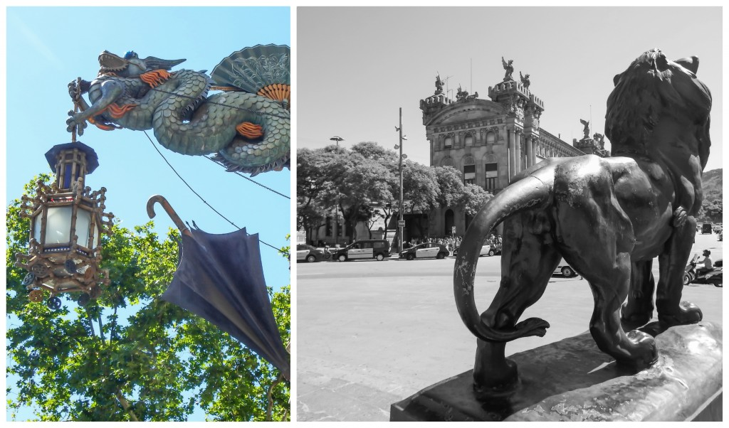 Dragon and lion statues along la rambla in Barcelona, Spain