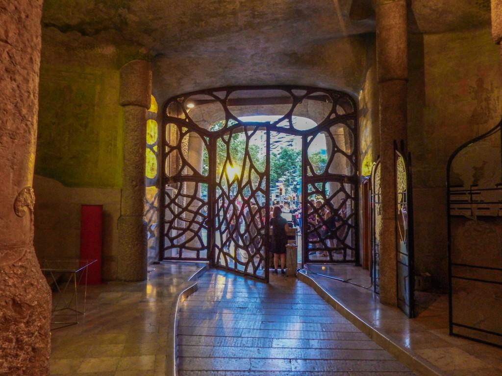 The butterfly entrance to Antoni Gaudí's Casa Mila (aka La Pedrera) in Barcelona, Spain