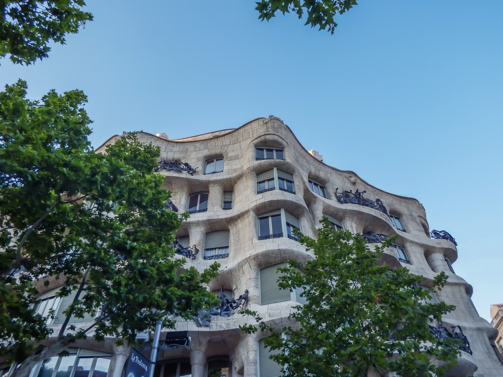 The exterior of Antoni Gaudí's Casa Mila aka La Pedrera in Barccelona, Spain