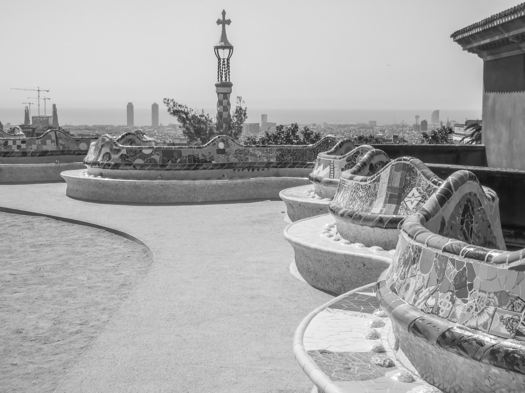 Antoni Gaudí's Park Güell in Barcelona, Spain in black and white