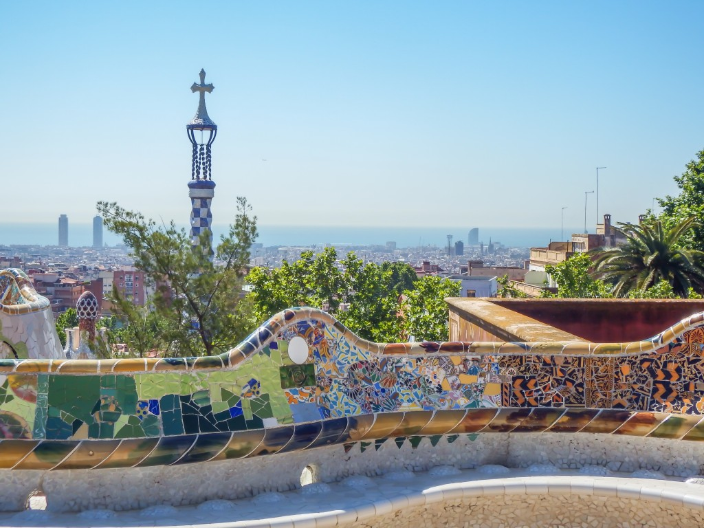 The colorful Park Güell of Antoni Gaudí in Barcelona, Spain
