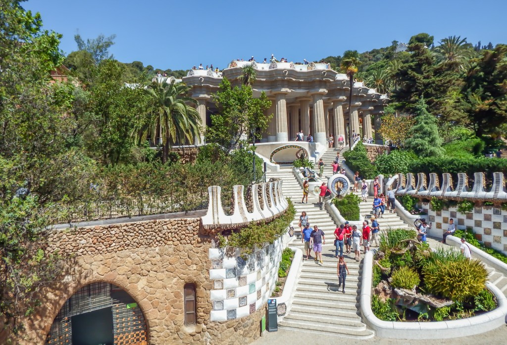The entrance to Antoni Gaudí's Park Güell in Barcelona, Spain
