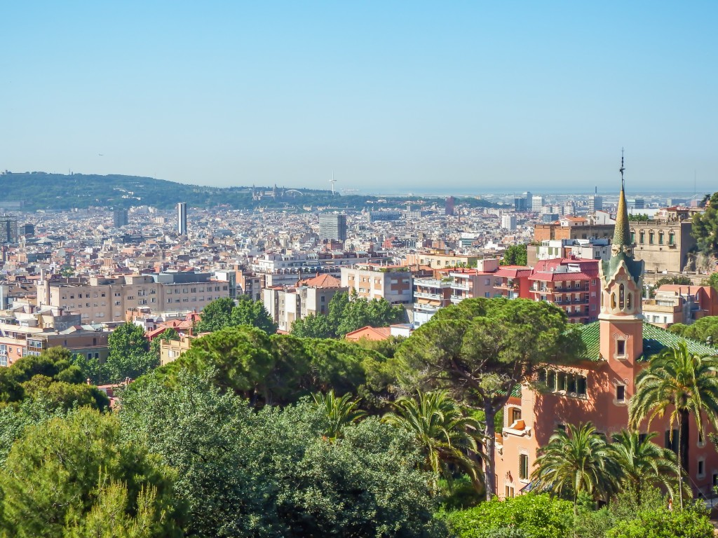 The view from Antoni Gaudí's Park Güell in Barcelona, Spain