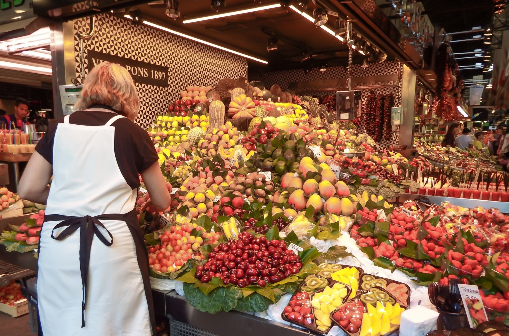A fruit stand at La Boqueria in Barcelona, Spain