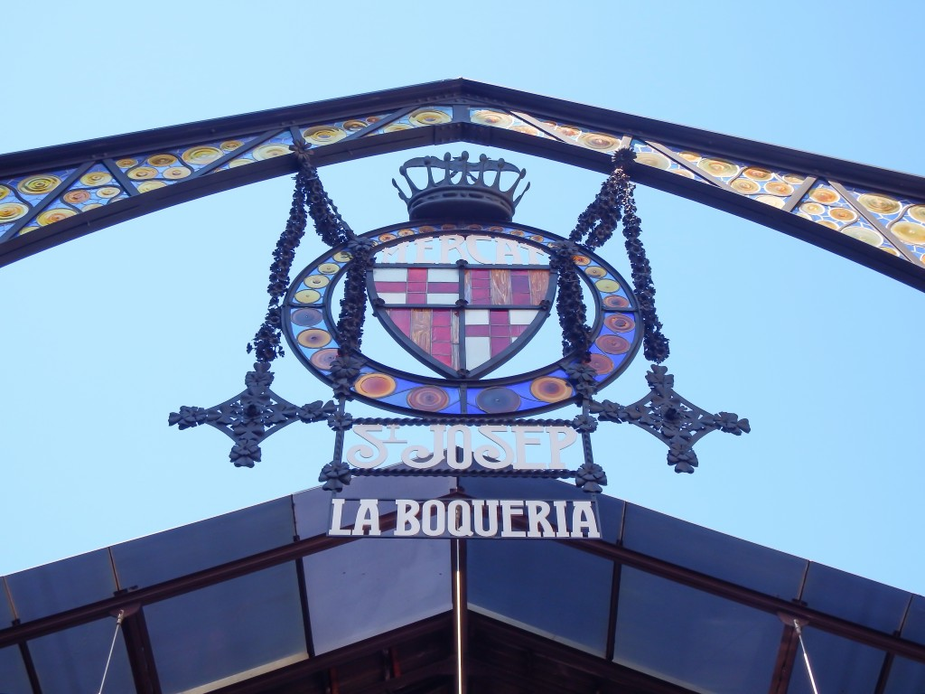 The entrance to La Boqueria in Barcelona, Spain