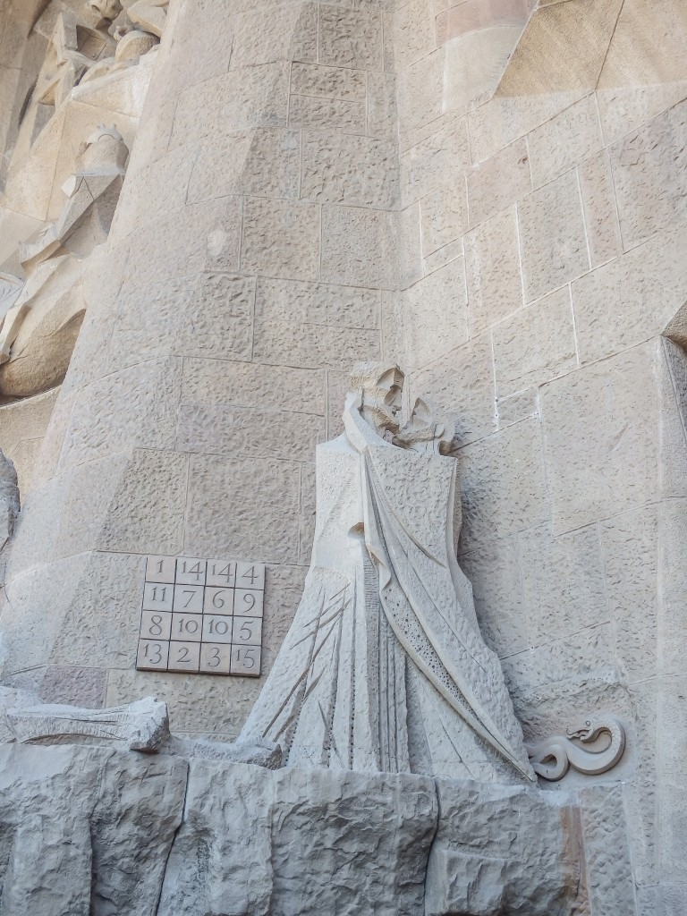 Gaudí's Passion façade at Sagrada Familia in Barcelona, Spain