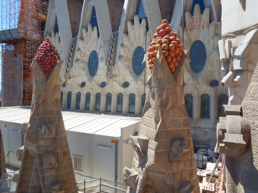 Construction outside the towers of Gaudí's Sagrada Familia in Barcelona, Spain