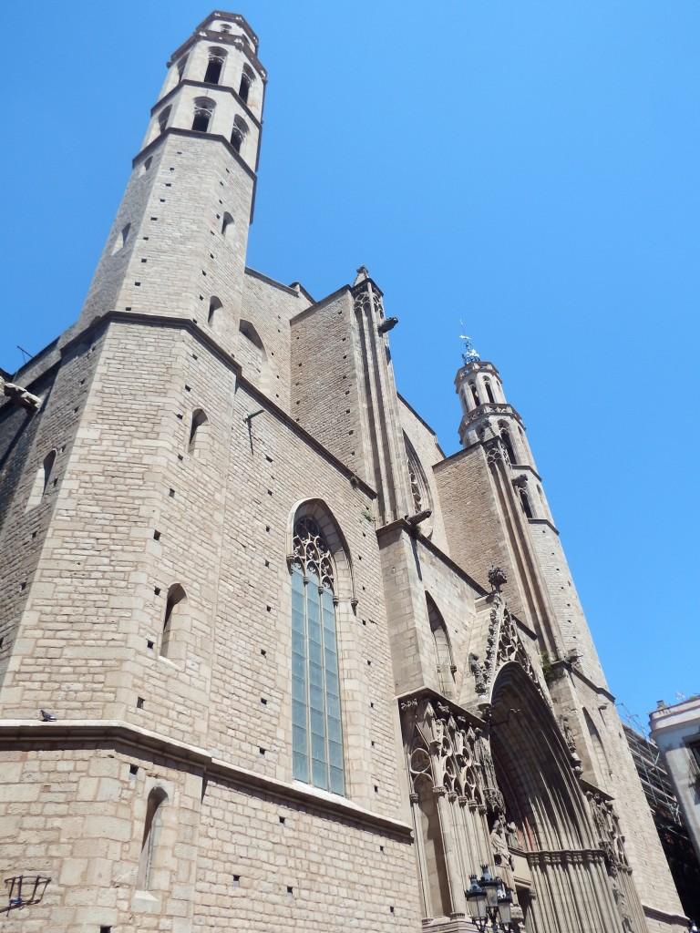 Outside the church of Santa Maria del Mar in Barcelona, Spain