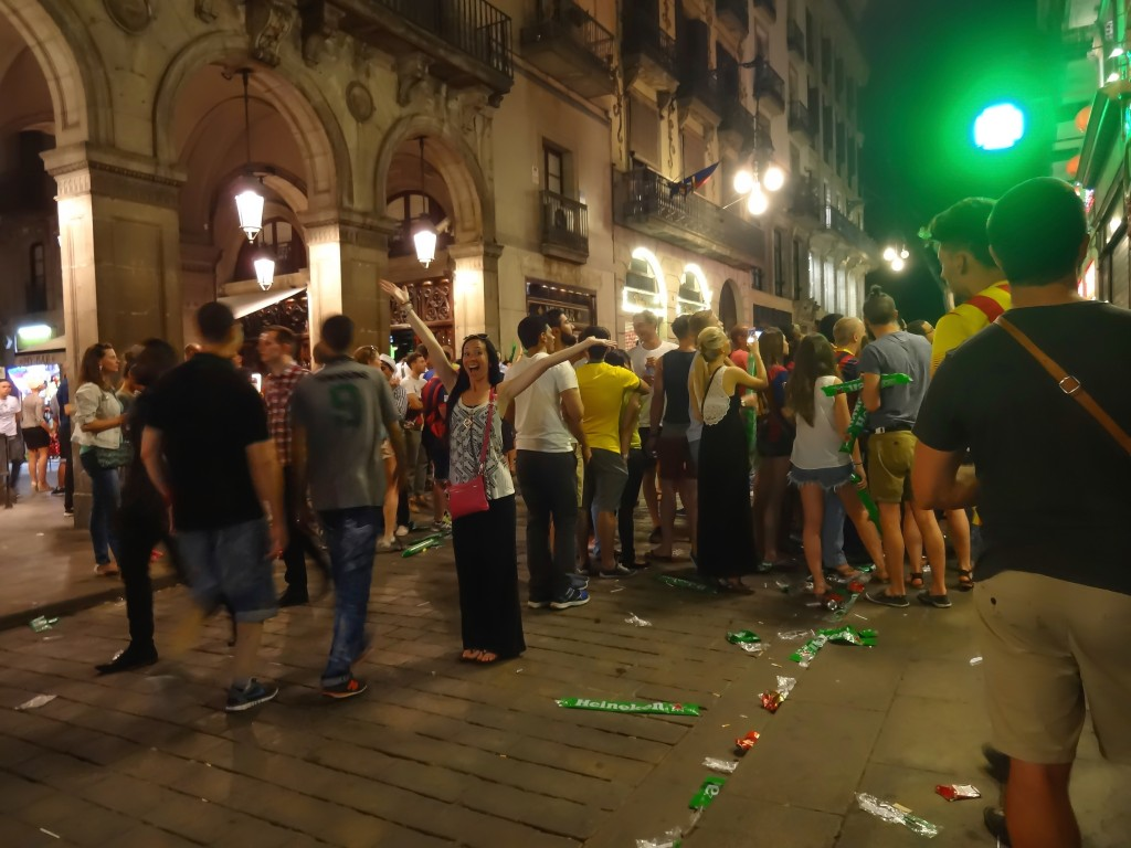 Celebrating a futbol win in Barcelona, Spain