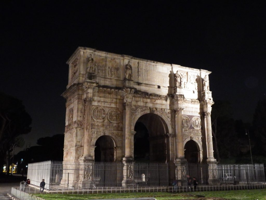 Arch of Constantine on the night tour during 2 days in Rome, Italy