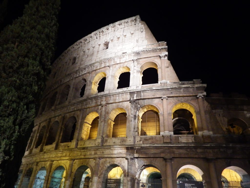The Colosseum on the night tour during 2 days in Rome, Italy