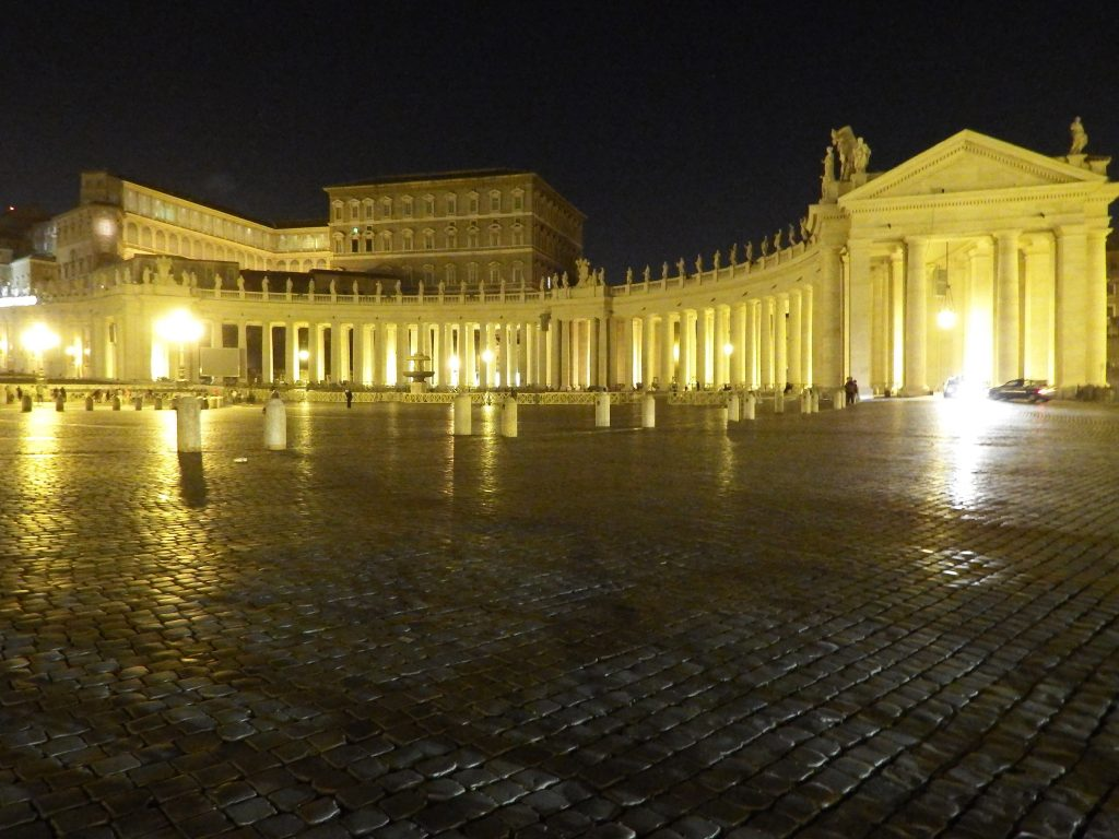 Visiting St. Peter's Square on a night tour during 2 days in Rome, Italy