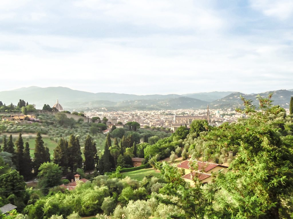 View of Florence, Italy while walking to Piazzale Michelangelo