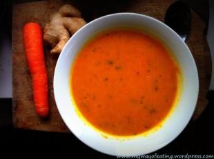 Vegan carrot and ginger soup. Wegańska zupa marchewkowa z imbirem.