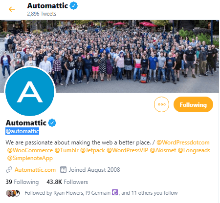 WooCommerce Parent Firm Automattic via Twitter