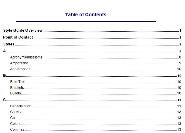 Create A Table Of Contents My Web Writers Website Content