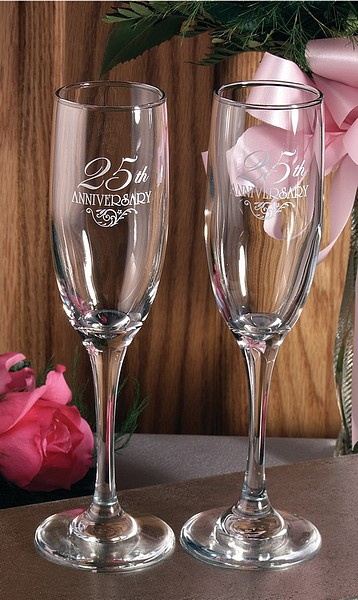 25th Anniversary Custom Engraved Toasting Flutes Set