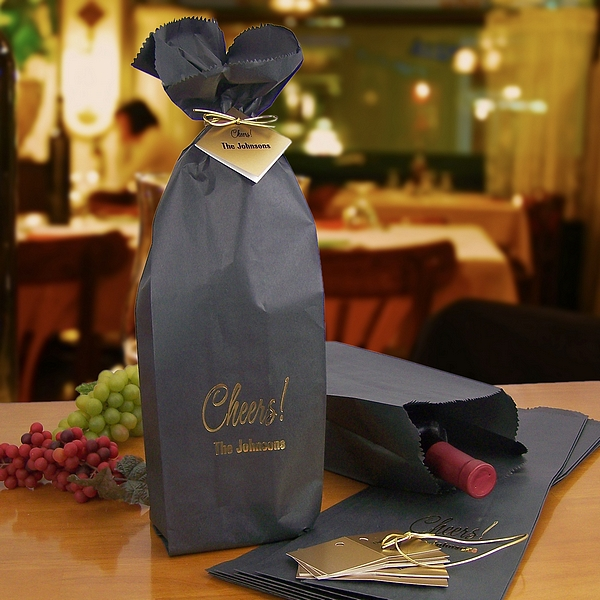 Wine Bottle Gift Bags Personalized 16 X 5 Black W Gift Tags