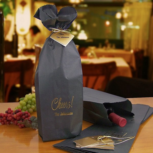 16 X 5 Custom Printed Black Wine Bottle Gift Bags And Tags