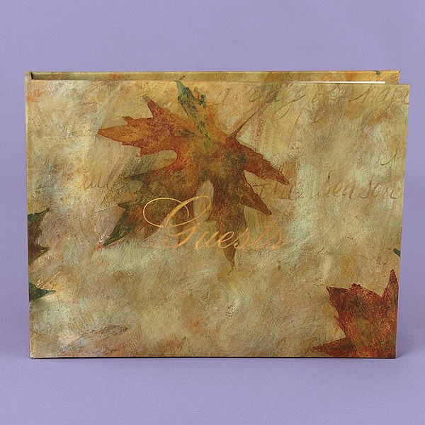 Simply Autumn Personalized Maple Leaf Wedding Guest Book