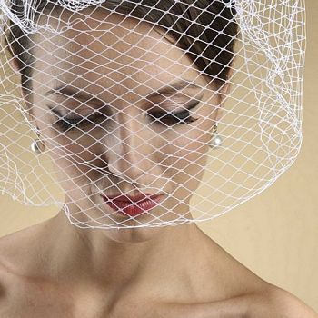 14 Inch Birdcage Face Veil In White Ivory Or Black