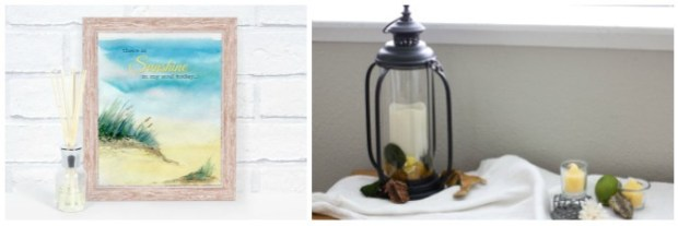 tuesday turn about link party 5 beach printable and lantern with candles on window seat