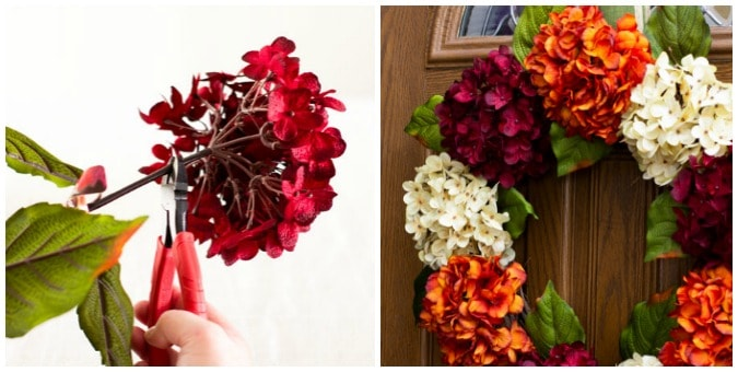 tuesday turn about 66 collage of hydrangea being cut and finished wreath on door