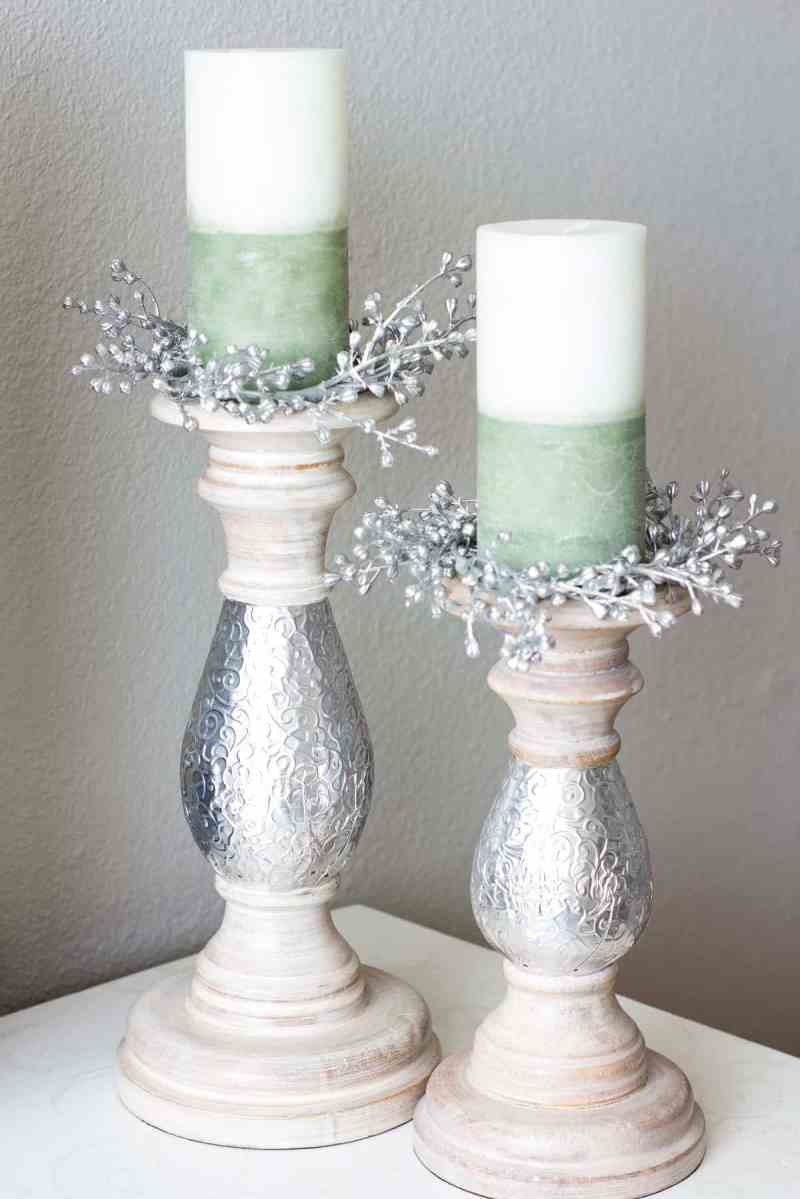 5 easy steps for how to make candle rings white green candle on pillar holder with silver seeded candle rings