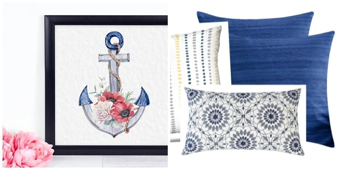 tuesday turn about 106 collage with red white blue anchor printable and pillows