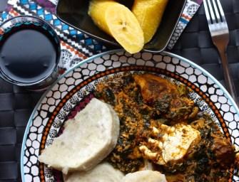 Kontomire Stew (Palaver Sauce) with Yam