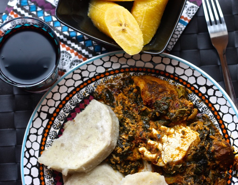 kontomire stew with yam and plantain