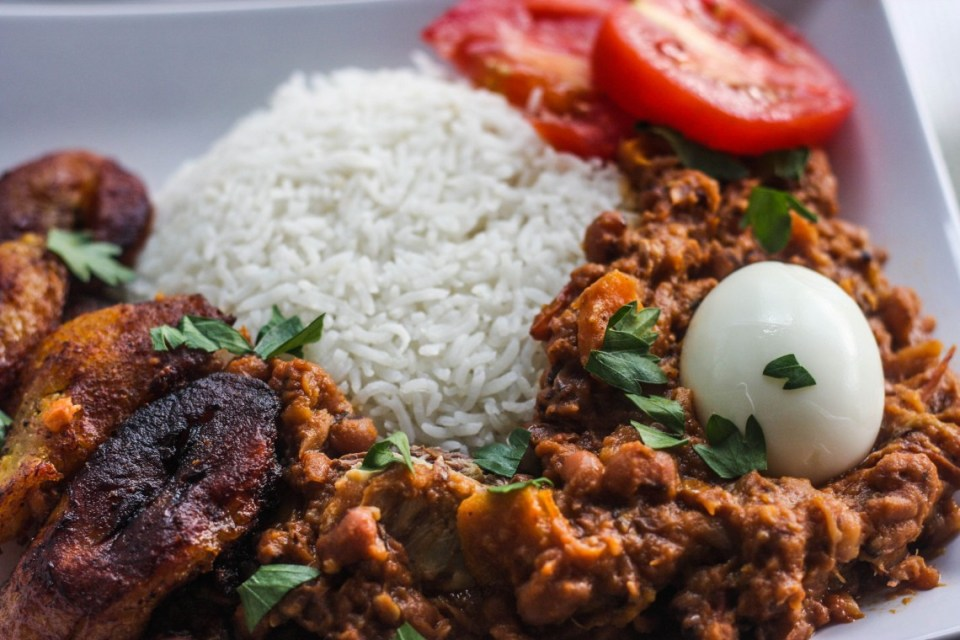 Black-eyed beans stew with rice