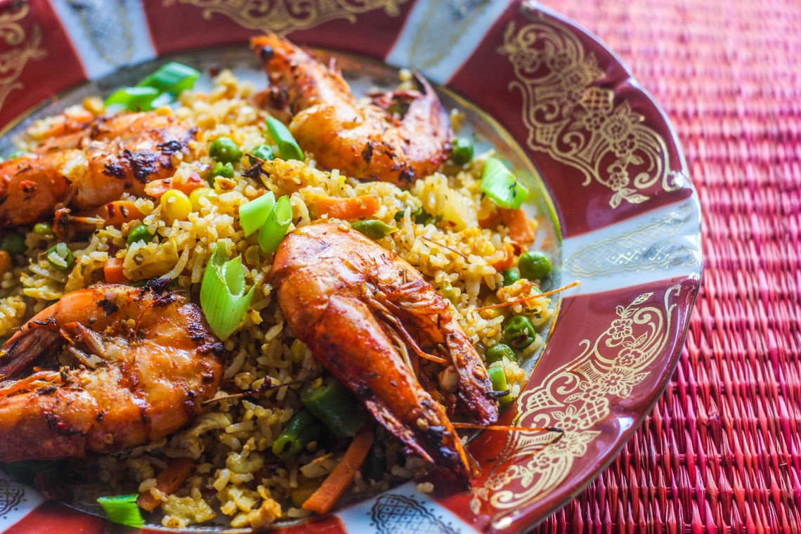 Fried Rice With Piri Piri Prawns