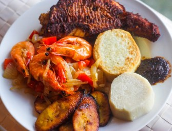 The Serena Williams meal: Grilled prawns, fish, yam and plantain