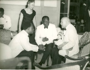 Ghana's first President Kwame Nkrumah in discussions with W.E.B Dubois