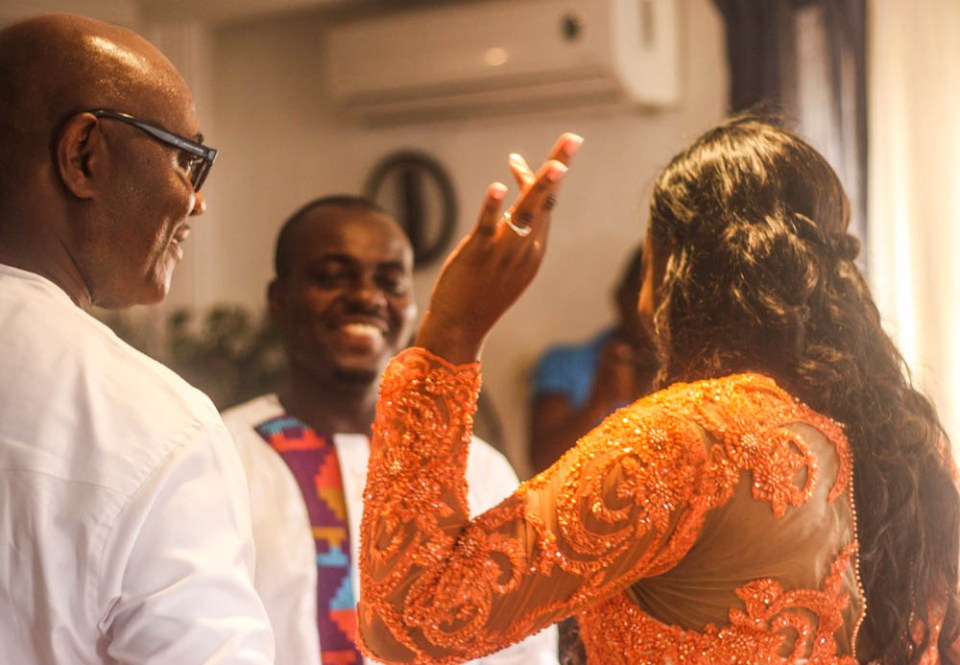 "This went on until the real bride - Esi - was brought forward and on seeing her the groom and his family pointed out that that was the bride they had come to ""pluck"" away! The bride was asked if she knew the groom to which she responded in the affirmative."