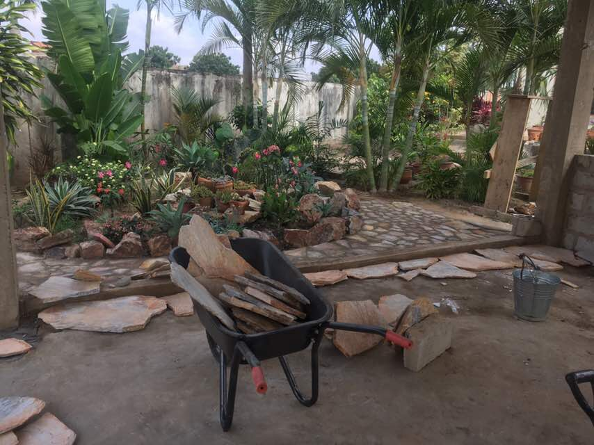 Turning the grounds into a rustic piece of hardscaping art