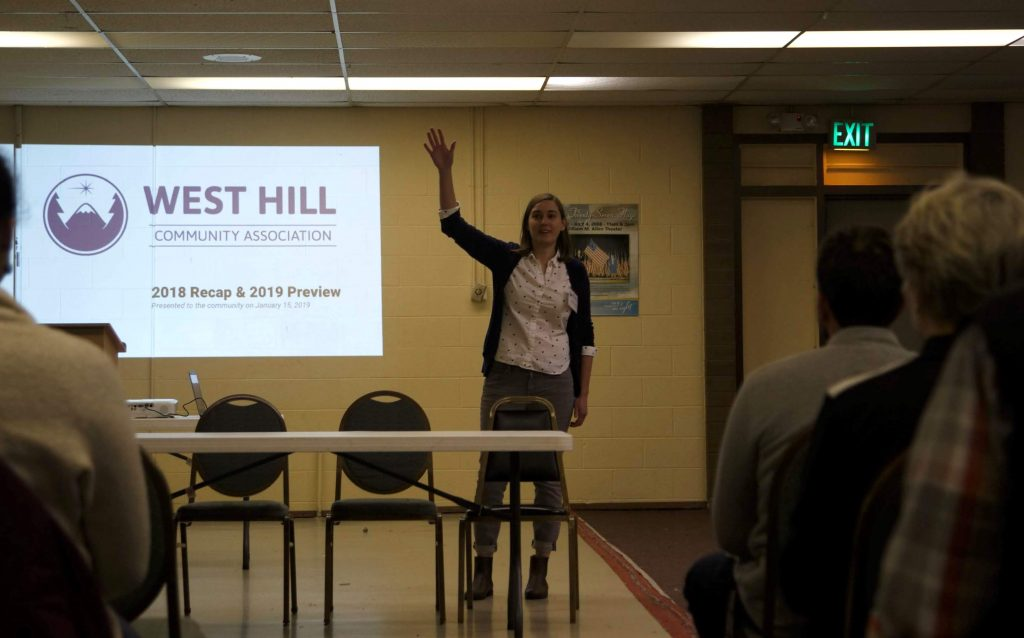 West Hill Community Association Board Treasurer Devin Chicras gives a presentation at Skyway VFW Post #9430 on January 15th, 2019 for WHCA's Winter Quarterly Community Meeting.